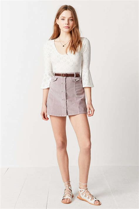 Button Front Mini Skirt lyst bdg corduroy button front mini skirt in pink