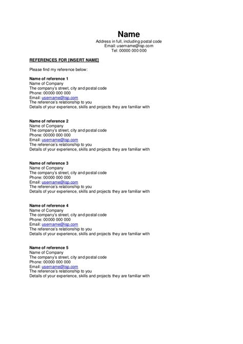 resume reference page template references page for job simple