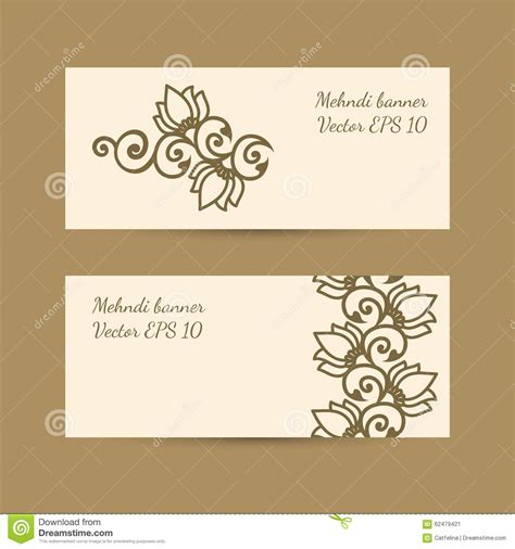 mehndi card template template set with monochrome decorative mehndi design for
