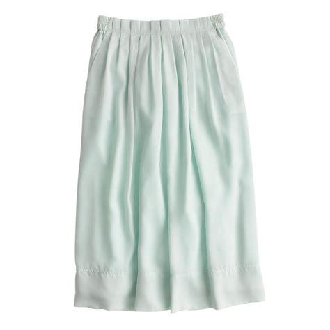 j crew pleated midi skirt in green rustic mint lyst