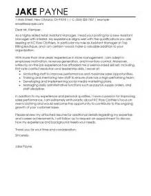 Manager Assistant Cover Letter by Best Retail Assistant Manager Cover Letter Exles Livecareer