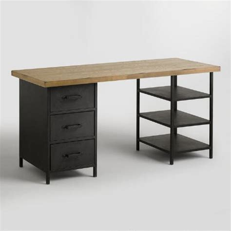 wood top colton mix match desk with shelf and drawers