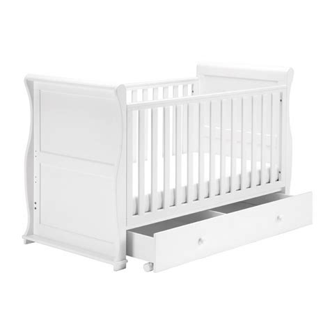 Sleigh Cot Bed White East Coast Alaska Sleigh Cot Bed White Underbed Drawer Kiddies Kingdom