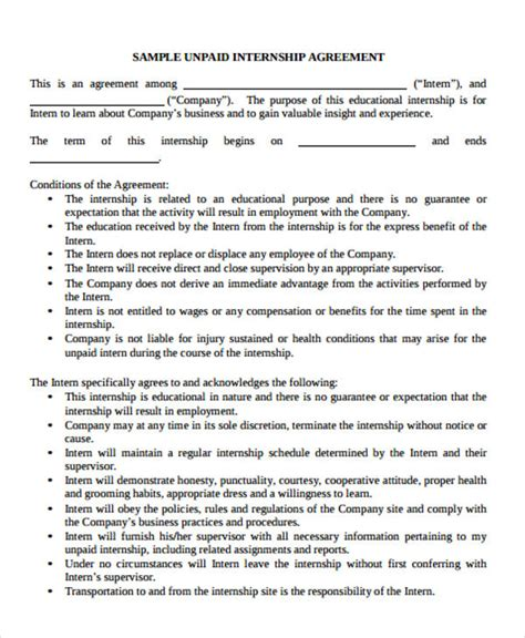 35 Agreement Templates Free Premium Templates Paid Internship Contract Template