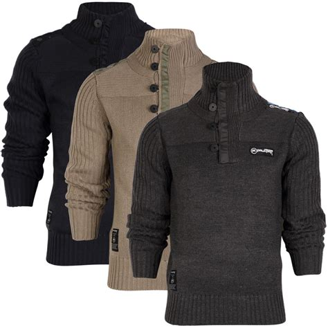Jumper Bayi 5 In 1 Best Seller mens rawcraft atlantic high neck button up knitted jumper