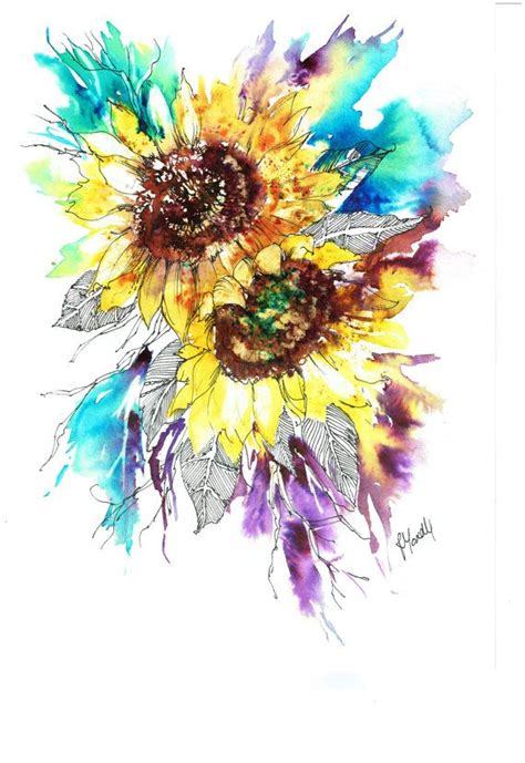 sunflower watercolor tattoo 17 best ideas about sunflower illustration on