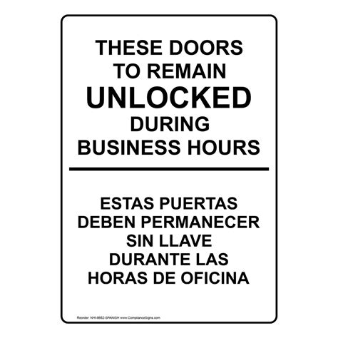 door to remain open during business hours sign doors remain unlocked during business hours sign nhi 8662
