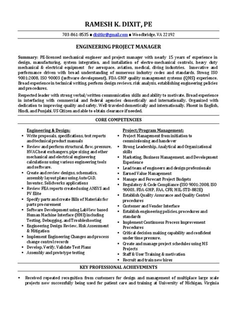 engineering project manager mechanical in washington dc resume ramesh dixit docshare tips