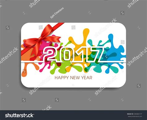 happy new year gift card gift card of happy new year 2017 text design vector