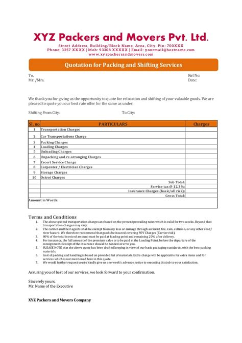quotation letter sle in doc quotations format for packers and movers companies in india