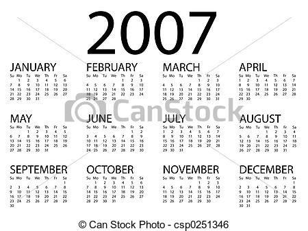 Calendario Ano 2007 Stock Image Of 2007 Calendar 2007 Calendar 2007