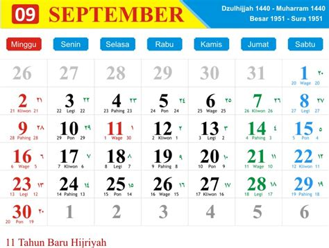 Kalender Tahun 2018 Pdf Kalender Bulan September 2018 Jawa Dan Hijriyah Pdf