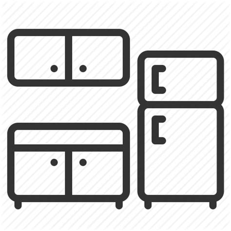 Kitchen Icon by Cabinet Cupboard Fridge Kitchen Storage Store Icon