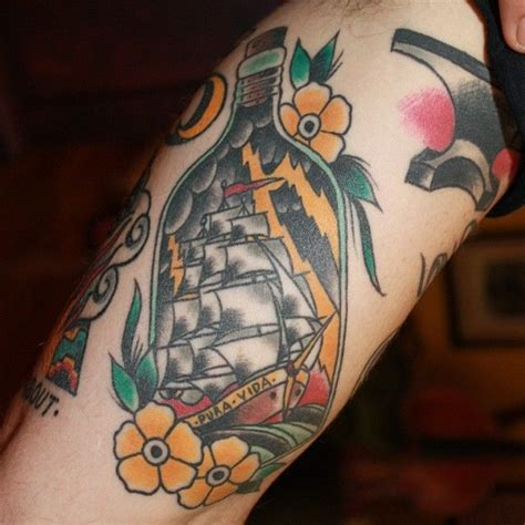 new school bottle tattoo old school tattoo ship in the bottle tattoo old