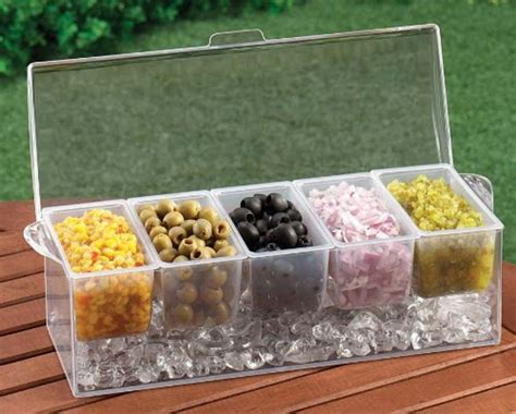 chilled condiment server with 5 removable containers