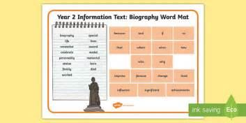 ks2 biography wordmat year 2 biography word mat exle texts y2 information