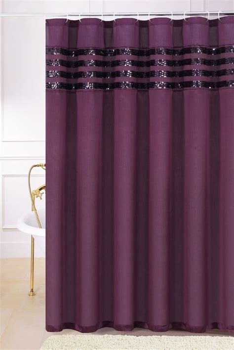 plum purple faux silk fabric shower curtain with sequins