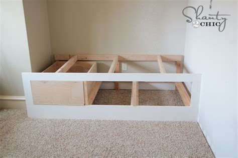 how to build a day bed diy built in storage bed shanty 2 chic
