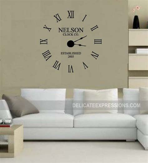 large wall clock decal kit custom family name with year etsy