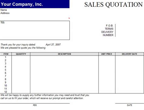 Sales Quotation Template For Word Sales Quote Template Excel