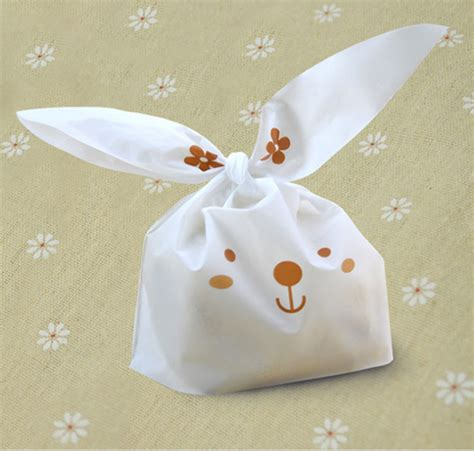 Rabbit Ear Cookie Bag 20pcs lot rabbit ear cookie bags self adhesive plastic bags for biscuits snack baking