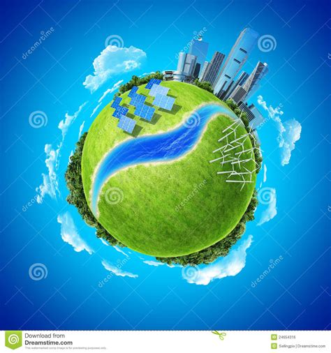 mini planet concept green energy in modern city royalty