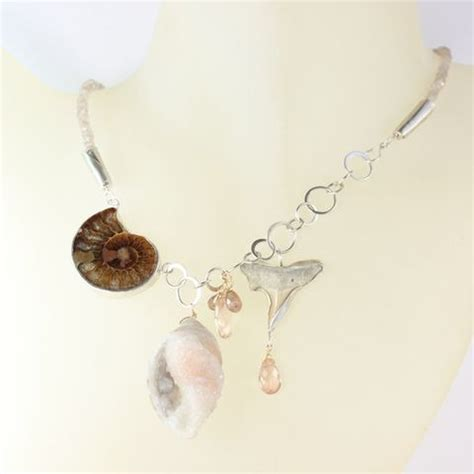 seashell fossil druzy opal necklace with sapphires sea luxe collection leda co