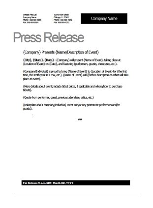 event press release template word press release template
