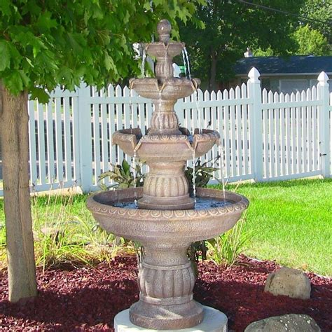patio fountains 4 tier mediterranean outdoor waterfall water yard