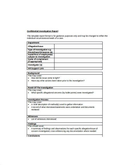 employee investigation form template hr report templates 15 free word pdf format