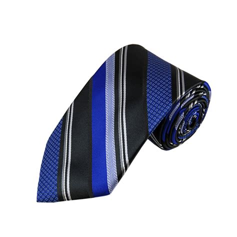 l 30 royal blue and black multi patterned stripe woven