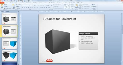 Free 3d Cube Shape For Powerpoint With Perspective Free Powerpoint Cube Template