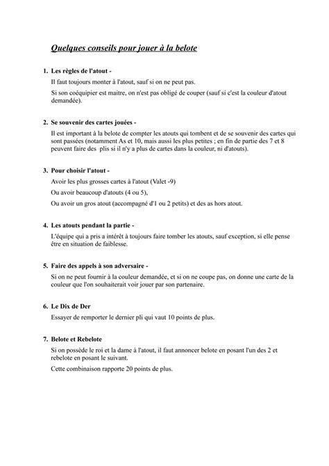 regle belote au d 233 s
