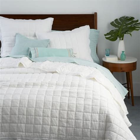 white quilted coverlet belgian flax linen quilt shams white west elm