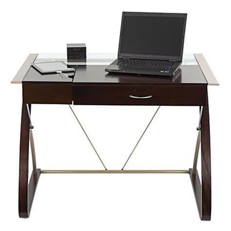 Realspace Merido Writing Desk With Storage Espressosilver Office Depot Writing Desk