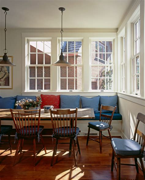 White Wall Room With Glass Windows And Blue Blinds by Farmhouse Dining Room Ideas Dining Room Traditional With