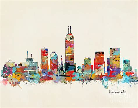 painting indiana indianapolis indiana skyline painting by bri b