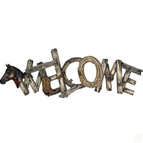 rivers edge home decor rivers edge home decor western welcome painted poly resin design plaque