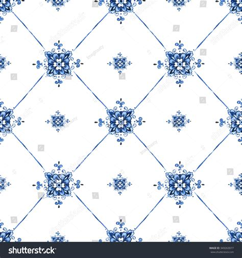holland pattern stock hand drawn watercolor patterns delft blue stock