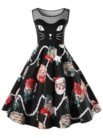 christmas pattern swing dress black 5xl christmas plus size kitten pattern swing dress