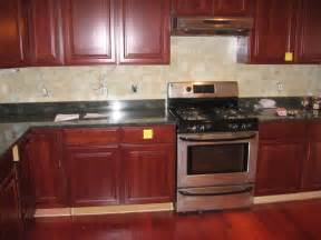 Cherry Cabinet Kitchens Tile Backsplash Ideas For Cherry Wood Cabinets Best Home