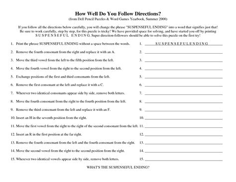 free printable following directions activities 28 directions activity worksheet 9 best images of