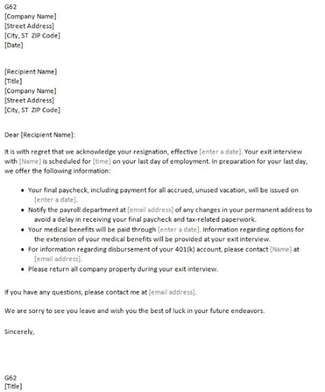 Resignation Acceptance Letter Template Uk Acceptance Of Resignation Letter Through Email Resume Layout 2017