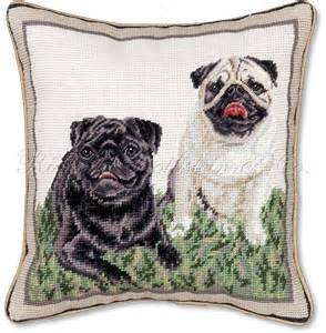 black and white pugs decorative needlepoint pillow ebay