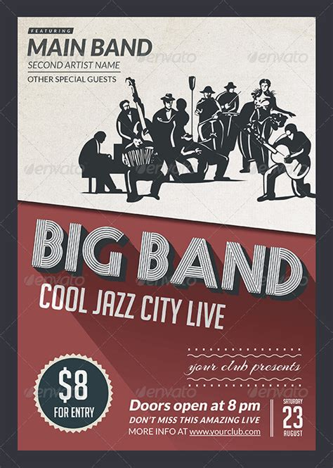 templates for band flyers big band jazz flyer flyers print templates