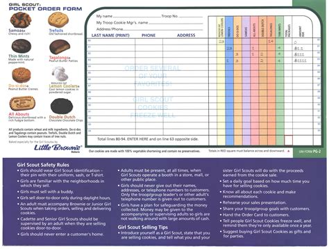 printable order form for girl scout cookies girl scout cookies order form