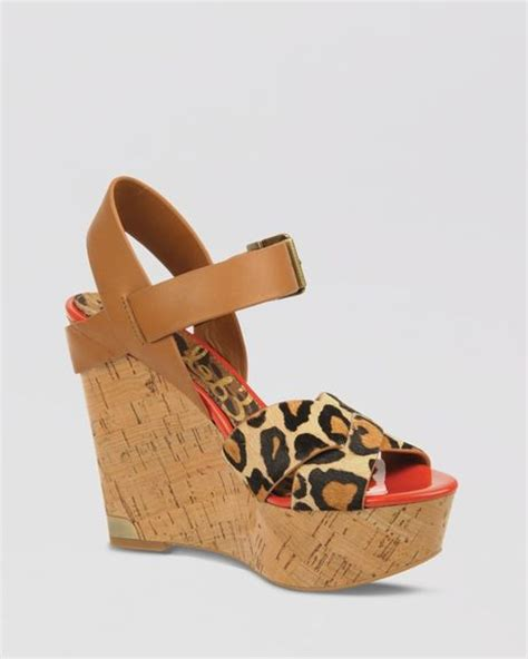 sam edelman leopard sandals sam edelman platform wedge sandals in animal