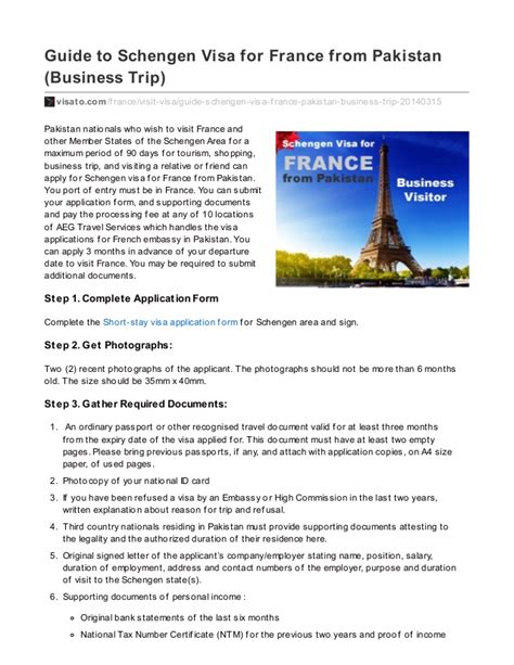Sponsor Letter To Visit Pakistan 7 Steps Guide To Schengen Visa For From Pakistan Business Tri
