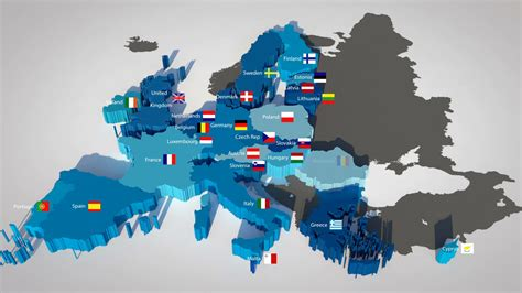 european union map 3d map of the european union with all countries ordered