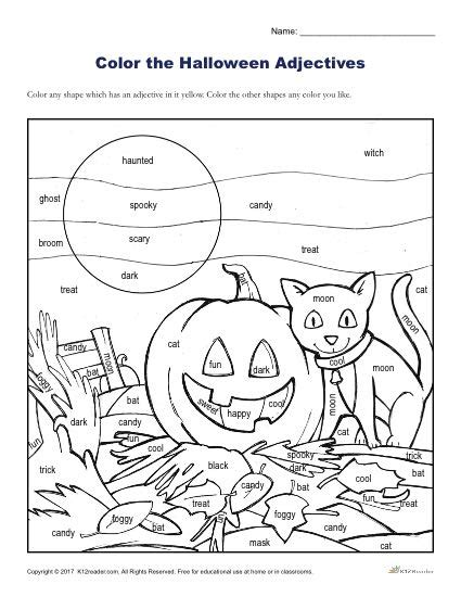 halloween adjectives printable halloween coloring activity